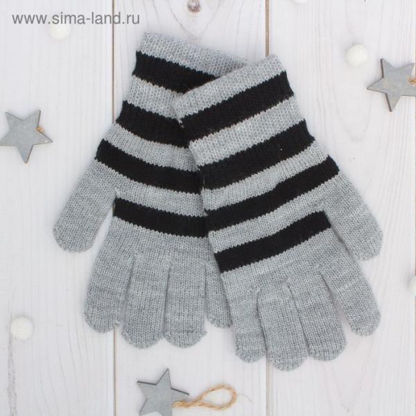 """Перчатки одинарные для мальчика """"Полоска"""", размер 16, цвет серый меланж/чёрный 6с177"""