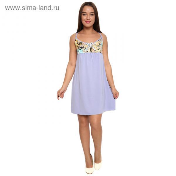 Сорочка женская М118 цвет сиреневый, принт МИКС, р-р 48 вискоза