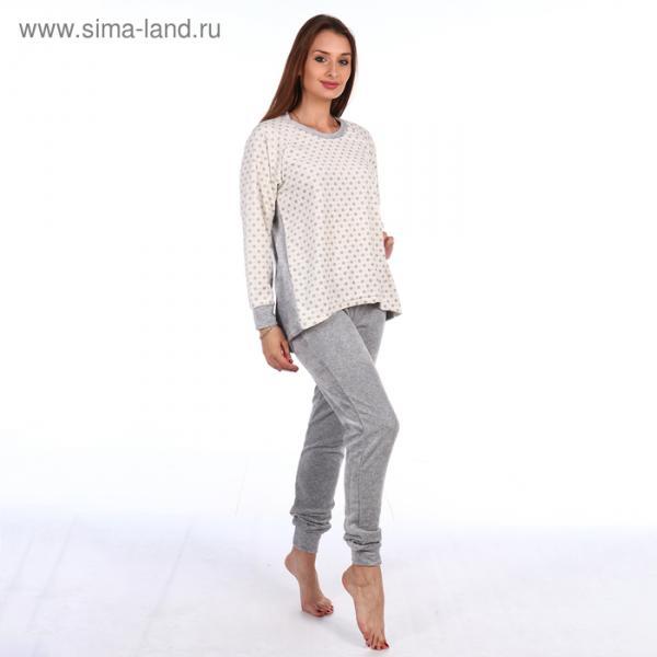 """Комплект женский (джемпер, брюки) """"Снежинки"""" КВ237 цвет серый, р-р 48"""