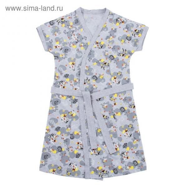 Комплект женский (халат, сорочка) Симона цвет серый, р-р 52