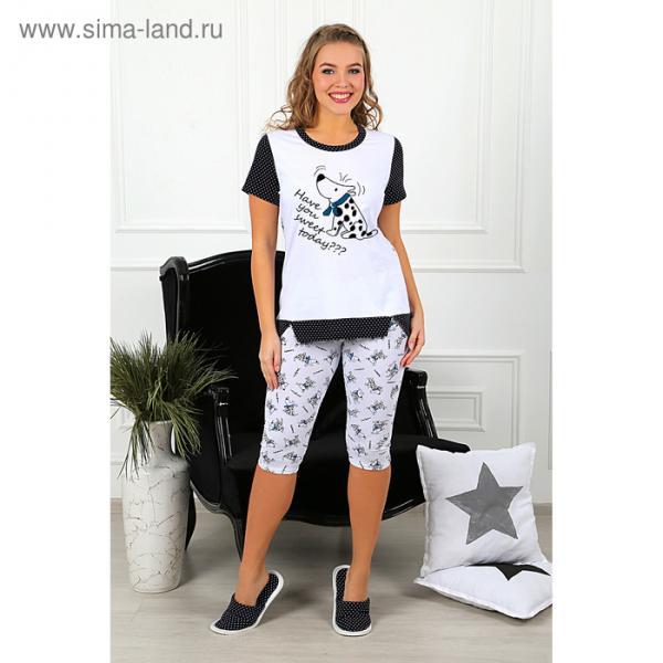 Пижама женская (футболка, бриджи) Далматинец-3 цвет голубой, р-р 50