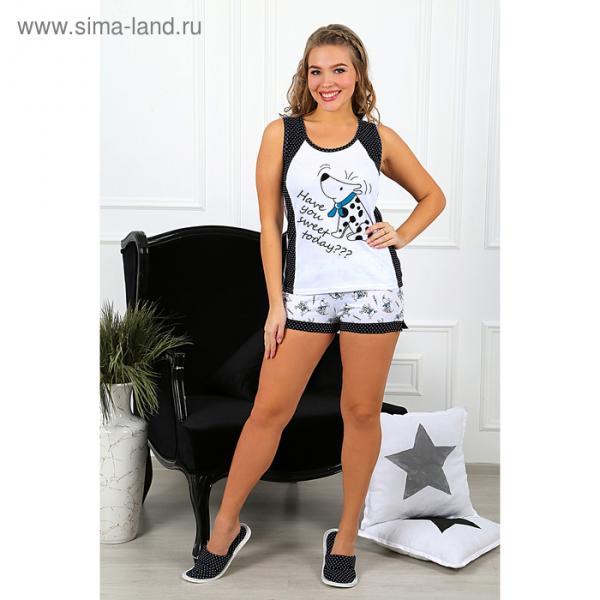 Пижама женская (майка, шорты) Далматинец-4 цвет голубой, р-р 48