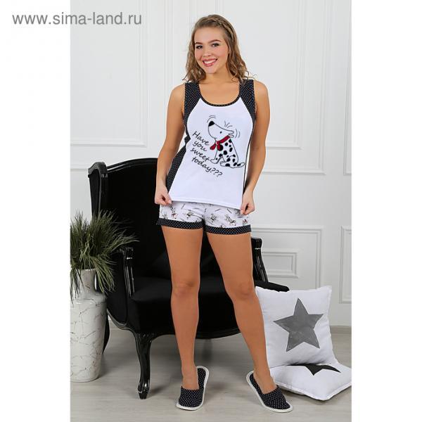 Пижама женская (майка, шорты) Далматинец-4 цвет малиновый, р-р 50