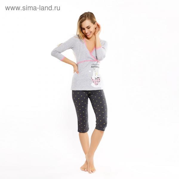 Пижама женская (джемпер, бриджи) 1318-5 (562248) цвет серый меланж, р-р 48 (L)