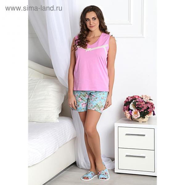 Комплект женский (майка, шорты) Романтика-3 цвет розовый, р-р 52