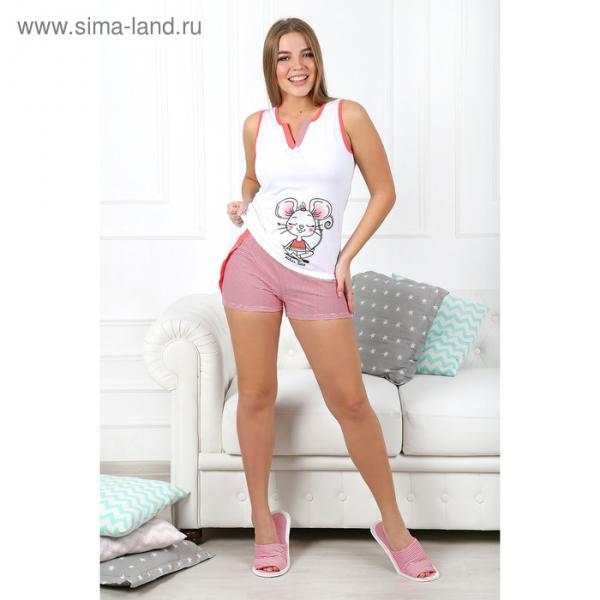 Пижама женская (майка, шорты) Гармония-3 цвет коралловый, р-р 50