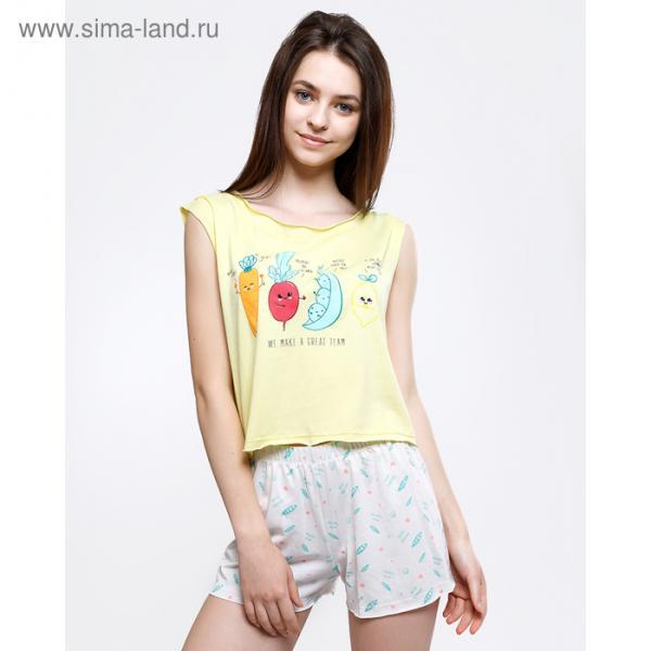 Комплект женский  (топ, шорты) 2135-6 (592291) цвет серый, р-р 44 (S)