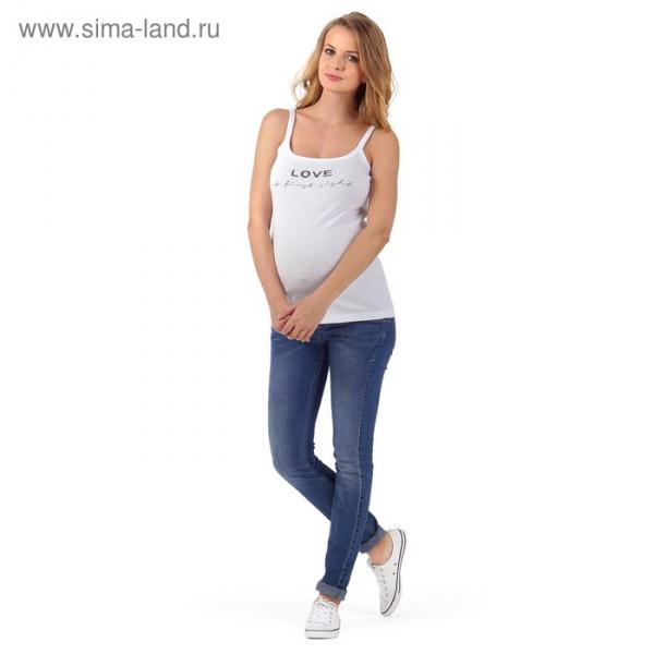 Майка для беременных цвет белый принт, р-р 48