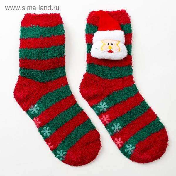 Носки новогодние женские, «Дед Мороз 3Д», цвет красно-зелёный, размер 23-25 (36-40)