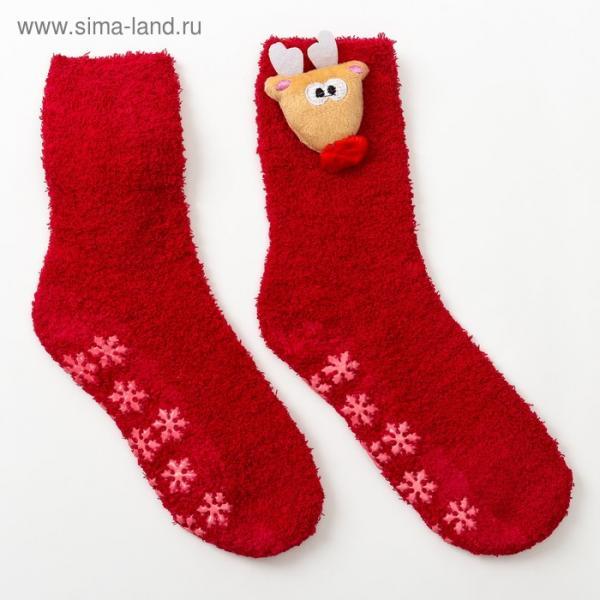 Носки новогодние женские, «Олень 3Д», цвет красный, размер 23-25 (36-40)