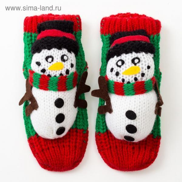 Носки новогодние детские вязаные, «Снеговик 3Д», цвет зелёный, размер 12-14