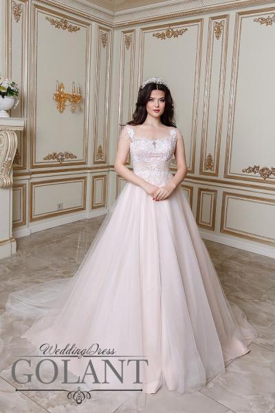 пляжное свадебное платье со шлейфом Карамель