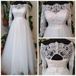 Фото Свадебные платья Непышное свадебное платье с рукавами Трейси