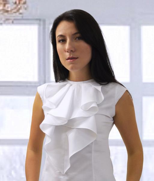 Фото Женские рубашки и блузы Блуза женская Michael Schaft Белая с жабо