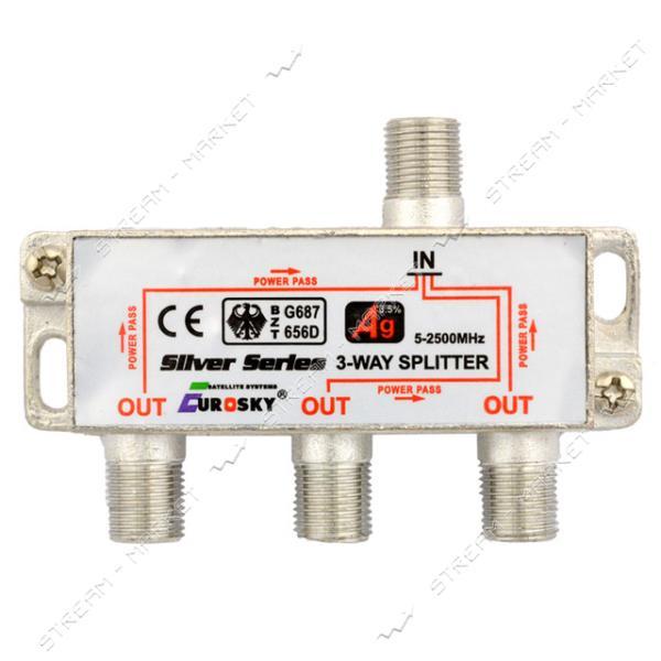 Сплиттер для антенного кабеля EUROSKY 3-Way без гаек с проходом питания