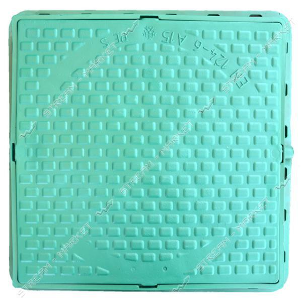 Люк квадратный 620*620 б/з пластик зеленый (1т) (размер крышки 610*610мм, высота люка h-80мм)