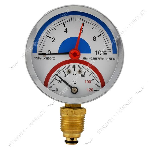 Термоманометр вертикальный 1/2' 10.0 бар 120°С