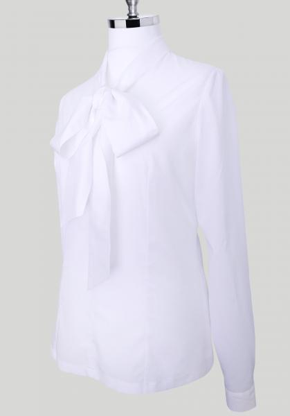 Фото Женские рубашки и блузы Блуза женская Michael Schaft Белая с бантом