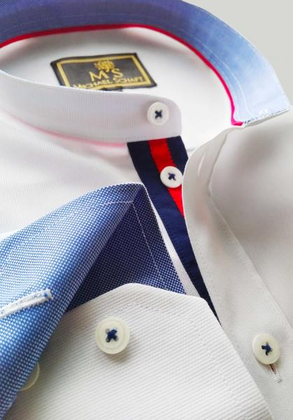 Фото Мужские рубашки Рубашка мужская Michael Schaft Белая с контрастными вставками с воротником