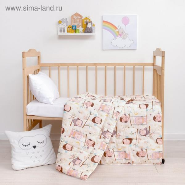 Одеяло Крошка Я «Совы» 110*140 см, хлопок/синтепон