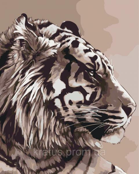 """KHO 2496 """"Амурский тигр"""" Роспись по номерам на холсте (без коробки) 40х50см"""
