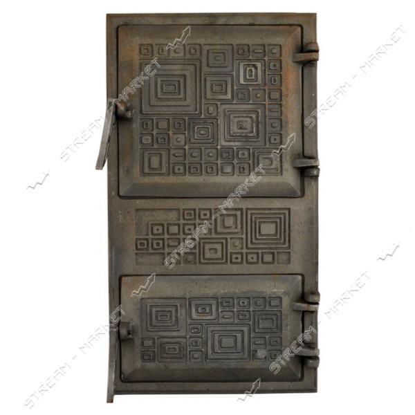 Дверца поддувальная и топочная Модерн чугунная спаренная крючок 445х230мм
