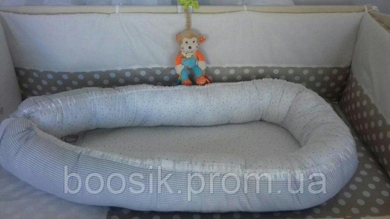 Колыбелька-кокон для новорожденных серый полоска