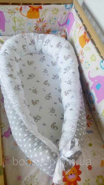 Колыбелька-кокон для новорожденных серый птички