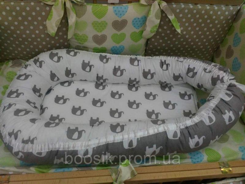 Колыбелька-кокон для новорожденных серый слоники