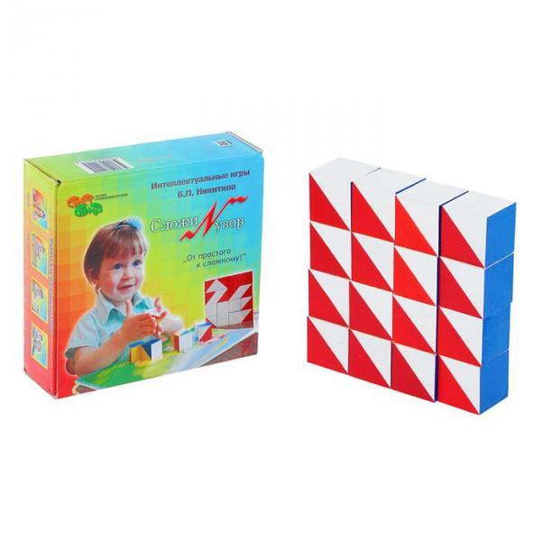Кубики «Сложи узор», журнал (97 рисунков) с заданиями в комплекте