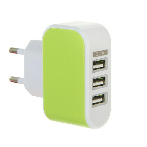 Сетевое зарядное устройство LuazON, модель LPA-18, 3 USB, 3.1 А, МИКС
