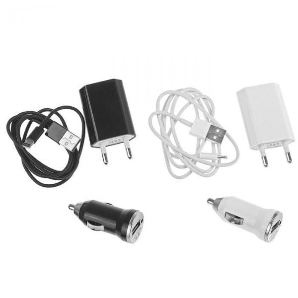 Комплект зарядки Mini Charger 2 in 1, с USB кабелем для i5, 220/12V, микс
