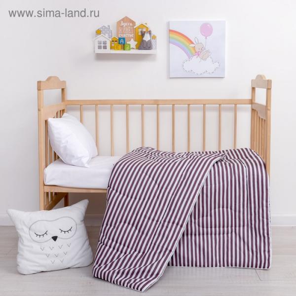 Одеяло Крошка Я «Полоски» цв. серый, 110*140 см, хлопок/синтепон