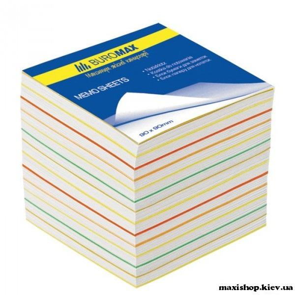 """Блоки бумаги для записей """"Радуга"""" JOBMAX 90х90х70мм, не скл."""