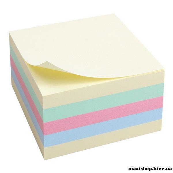 Блок бумаги с клейким слоем 75x75мм, 450л, паст.куб 7925