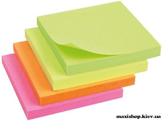 Блок бумаги с клейким слоем 75x75мм цвет неоновый ассорти 2414