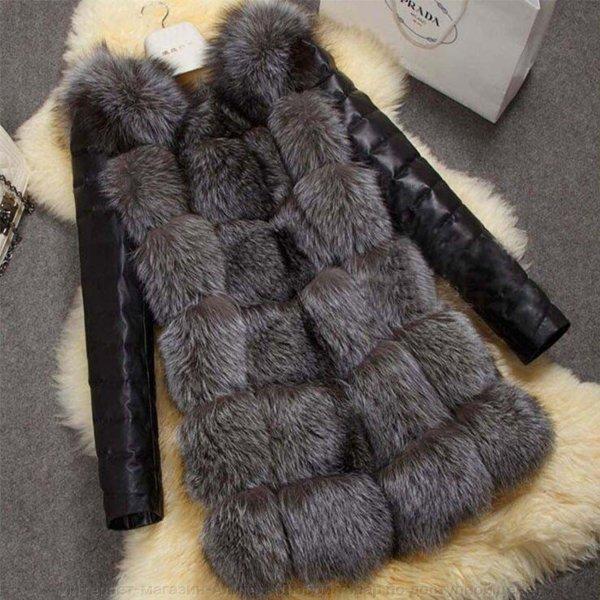 Качественная женская куртка с лисьего меха.