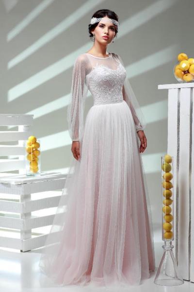 Легкое свадебное платье с длинными рукавами Василиса