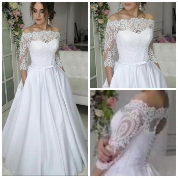 Атласное свадебное платье с кружевными рукавами и карманами Кристина