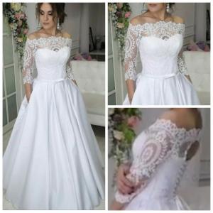 Фото Свадебные платья Атласное свадебное платье с кружевными рукавами и карманами Кристина
