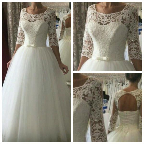 Пышное Белое свадебное платье с кружевными рукавами Анастасия