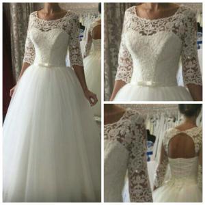 Фото Свадебные платья Пышное Белое свадебное платье с кружевными рукавами Анастасия