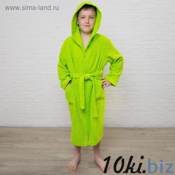 Халат махровый детский, размер 34, цвет салатовый, 340 г/м2 хл.100% с AIRO купить в Лиде - Халаты детские для мальчиков