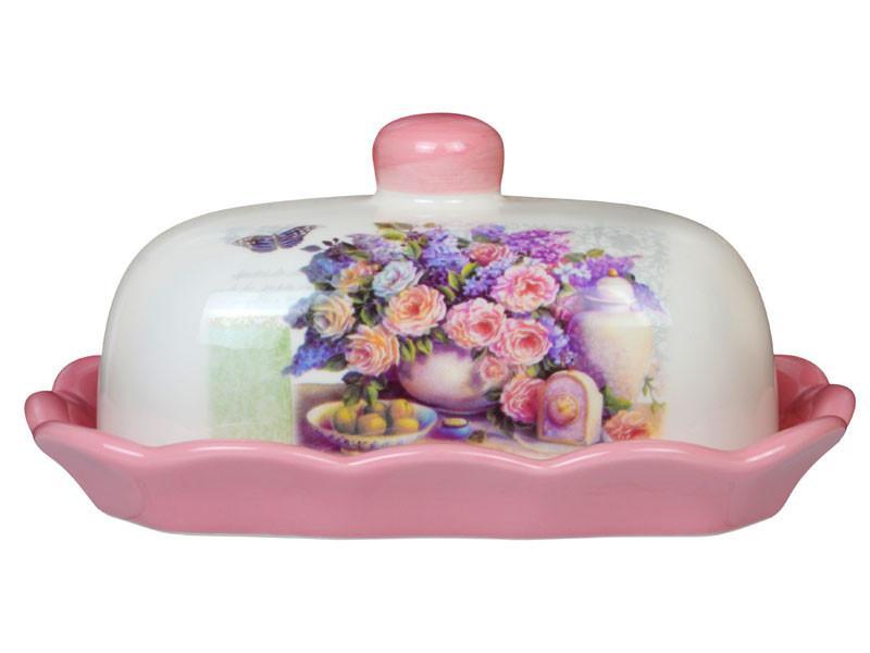 """Масленка """"Розовый букет"""" 17,2х12,4х8,5 см, Lefard, 358-810"""