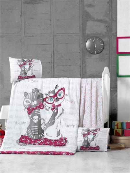 """Детское постельное бельё """"Коты"""" (с одеялом и подушками)"""