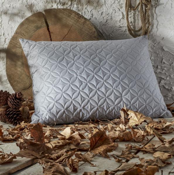 Стёганая подушка Серебристая
