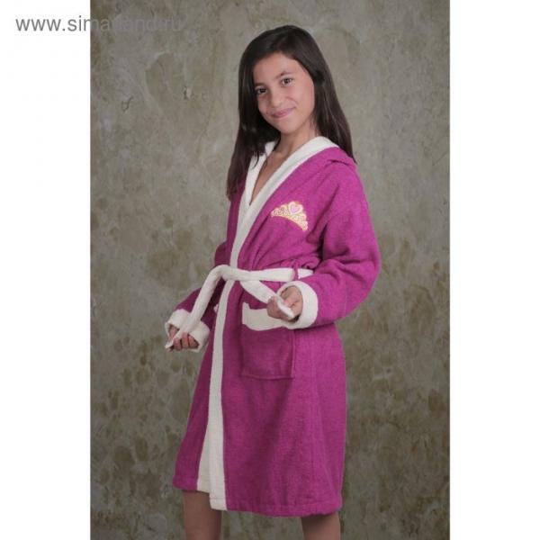 Халат детский махровый с капюшоном Silver, 6-7 лет, цвет фуксия 913/3