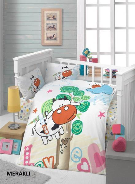 """Детское постельное бельё """"Коровка на дереве"""" (с одеялом и подушками + в подарочной коробке)"""