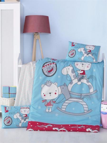 """Детское постельное бельё """"Маленькие ковбои"""" (с одеялом и подушками + в подарочной коробке)"""