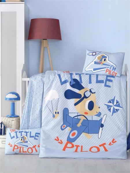 """Детское постельное бельё """"Маленький пилот"""" (с одеялом и подушками + в подарочной коробке)"""